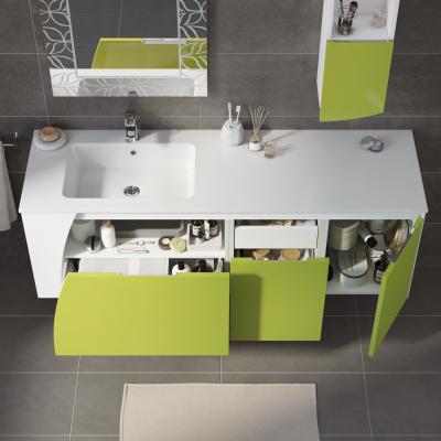 bagno mobile bagno soft bianco con frontale verde acido l 1525 cm