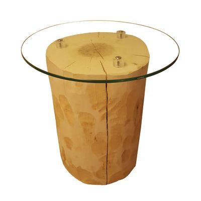 Tavolino legno e vetro Ø 45 x H 46 cm grezzo: prezzi e offerte online