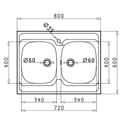 Lavello appoggio dioniso l 80 x p 60 cm 2 vasche prezzi e offerte online - Lavello cucina dimensioni ...