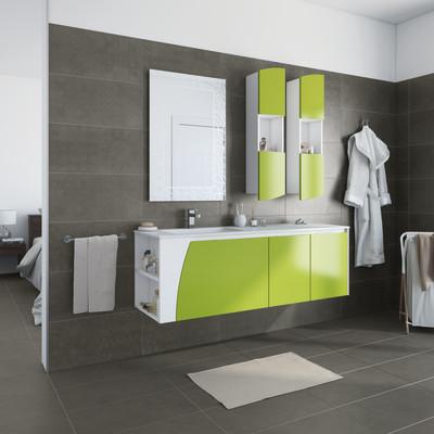 Bagno Mobili bagno Mobile bagno Soft bianco con frontale verde acido ...