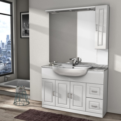 Mobile bagno paola bianco l 120 cm prezzi e offerte online for Mobili bagno prezzi