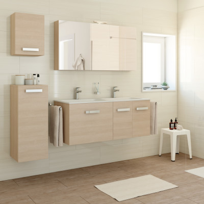 Mobile bagno basic rovere chiaro l 120 cm prezzi e for Mobile bagno offerte prezzi