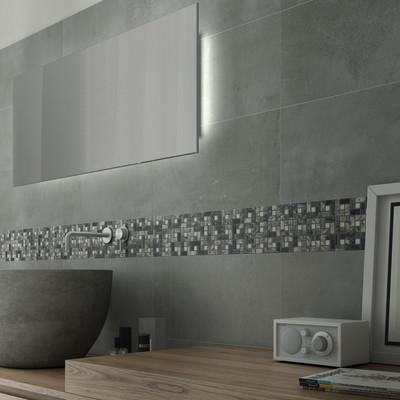 Mosaico nido pietra 30 x 30 bianco grigio prezzi e - Bagno bianco e grigio ...