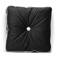 Cuscino Zoe nero piping avorio 45 x 45 cm