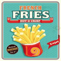 quadro su tela French fries 30x30