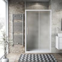 Porta doccia scorrevole Record 127-131, H 195 cm vetro temperato 6 mm satinato/bianco opaco