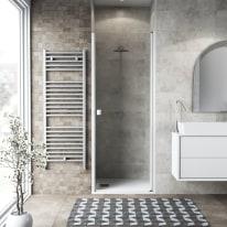 Porta doccia battente Neo 82-86, H 201,7 cm vetro temperato 6 mm trasparente/bianco opaco