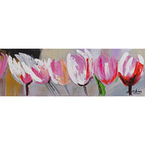 quadro dipinto a mano Tulipani 30x90