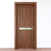 Porta da interno battente Spyhole nut larice noce 70 x H 210 cm sx