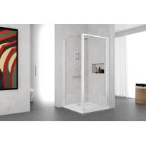Porta doccia battente Oceania 72-78, H 195 cm vetro temperato 5 mm trasparente/bianco lucido