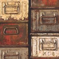Carta da parati Casse ferro vintage multicolor 10 m