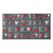 Tappetino cucina antiscivolo Full cuori patch grigio 55 x 230 cm