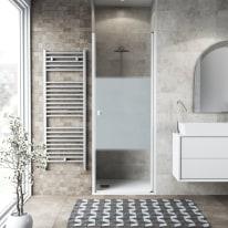 Porta doccia battente Neo 82-86, H 201,7 cm vetro temperato 6 mm serigrafato/bianco opaco