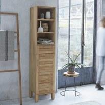 Colonna Tikamoon in teak soho 1 anta, 1 cassetto, vano a giorno L 40 x H 180 x P 35 cm