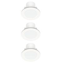 Kit 3 faretti ad incasso LED integrato Rovigo bianco fisso rotondo Ø 8 cm 3 x 5 W = 400 Lumen luce fredda
