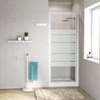 Porta doccia battente Nerea 87-90, H 185 cm cristallo 4 mm serigrafato/bianco lucido