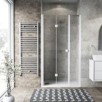 Doccia con porta pieghevole lato fisso in linea Neo 87 - 91 + 40 cm, H 201,7 cm vetro temperato 6 mm trasparente/bianco opaco