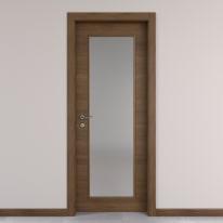 Porta da interno battente Stenophylla vetro cacao 90 x H 210 cm reversibile