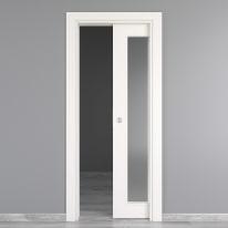Porta da interno scorrevole Moma Vetro bianco 70 x H 210 cm reversibile