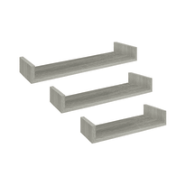 Set 3 mensole a U Spaceo rovere grigio, sp 2,2 cm