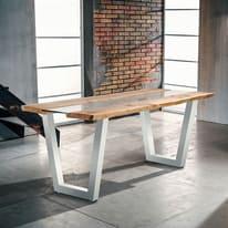 Tavolo Vertigo verniciato bianco legno e vetro L 200 x P 85 x H 80 cm grezzo
