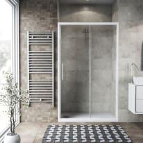 Porta doccia scorrevole Record 132-136, H 195 cm vetro temperato 6 mm trasparente/bianco opaco
