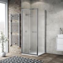 Doccia con porta pieghevole e lato fisso Record 77 - 81 x 77 - 79 cm, H 195 cm vetro temperato 6 mm satinato/silver lucido