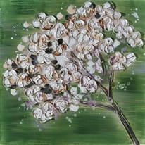 quadro dipinto a mano Fiori sfondo verde 60x60