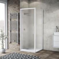 Doccia con porta battente e lato fisso Record 97 - 101 x 77 - 79 cm, H 195 cm vetro temperato 6 mm satinato/bianco opaco