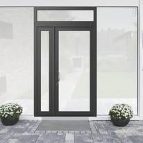 portoncino d'ingresso alluminio Condo19 grigio L 132 x H 250 dx