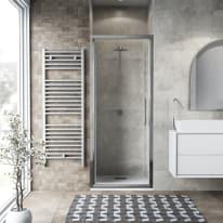 Porta doccia battente Record 97-101, H 195 cm vetro temperato 6 mm trasparente/silver lucido
