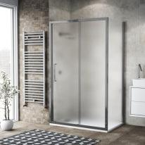 Doccia con porta scorrevole e lato fisso Record 142 - 146 x 77 - 79 cm, H 195 cm vetro temperato 6 mm satinato/silver lucido