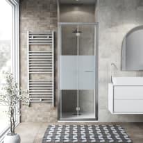 Porta doccia Record 82-86, H 195 cm vetro temperato 6 mm serigrafato/silver lucido