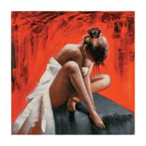 quadro dipinto a mano Ballerina fondo rosso 100x100