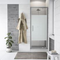 Porta doccia battente Quad 77.5-79, H 190 cm cristallo 6 mm serigrafato/silver
