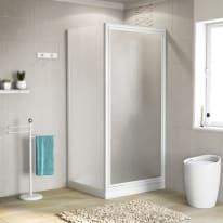 Doccia con porta battente e lato fisso Elba 68 - 72 x 78 - 82 cm, H 185 cm cristallo 3 mm piumato/bianco lucido