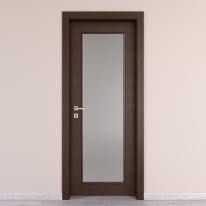 Porta da interno battente Timber vetro Fumo 80 x H 210 cm reversibile