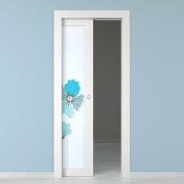 Porta da interno scorrevole Eden larice bianco 80 x H 210 cm sx