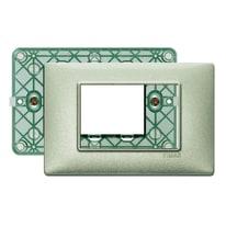 Placca 3 moduli Vimar Plana verde metallizzato
