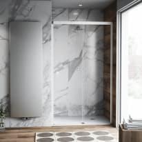 Porta doccia scorrevole Neo Plus 137-139, H 200 cm vetro temperato 6 mm trasparente/bianco opaco