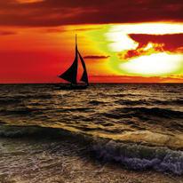 Quadro in vetro Boat in the sunset 38x38
