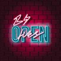 Quadro in vetro Neon open 38x38