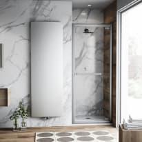 Porta doccia battente Namara 75-80, H 195 cm cristallo 8 mm trasparente/silver