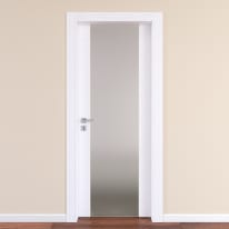 Porta da interno battente Plaza Vetro frassino bianco 70 x H 210 cm dx