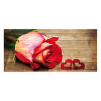 Quadro in legno Love red rose 50x110