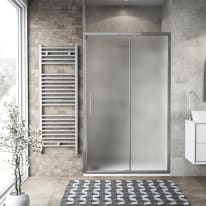 Porta doccia scorrevole Record 127-131, H 195 cm vetro temperato 6 mm satinato/silver lucido