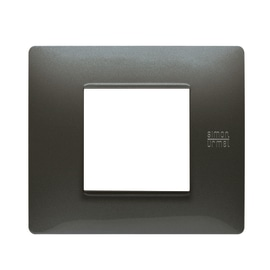 Placca 2 moduli Simon Urmet Nea Flexa acciaio scuro
