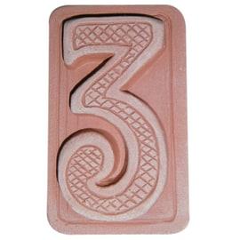 Numero civico tre 5 x 9 x 1,5 cm cotto