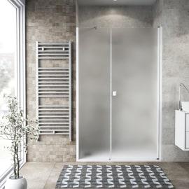Doccia con porta battente lato fisso in linea Neo 67 - 69 + 40 cm, H 200 cm vetro temperato 6 mm bianco opaco
