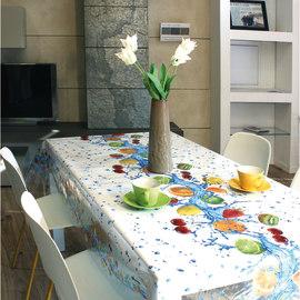 Tovaglia plastificata Cristallo frutta azzurro 220 x 140 cm
